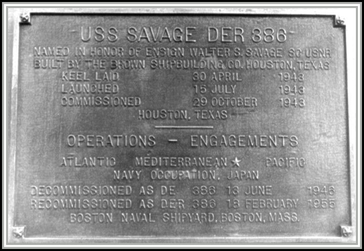 photograph of historical marker for USS SAVAGE DER-386