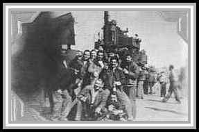 photograph of crew celebrating end of war