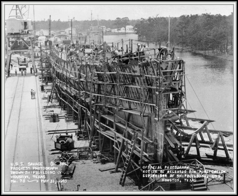 31 May, 1943 - under construction at the Brown Shipbuilding Company in Houston, Texas. Progress photograph.