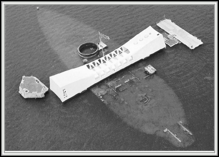 photograph of the USS ARIZONA Memorial.