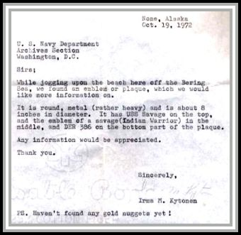 scan of Irma's letter to the Navy Department concerning plaque