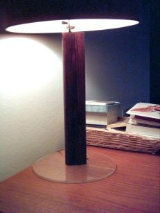 photograph of lamp made from wood salvaged from the Savage