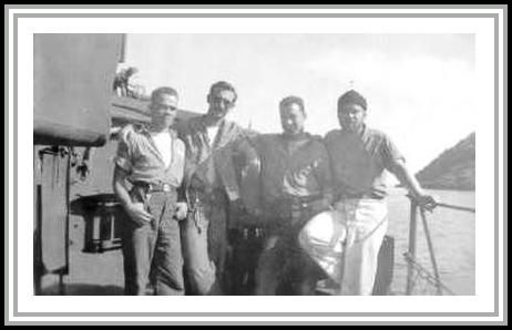 photograph of M. Ballman, Boderman, W. Leuck, and unknown crewmember