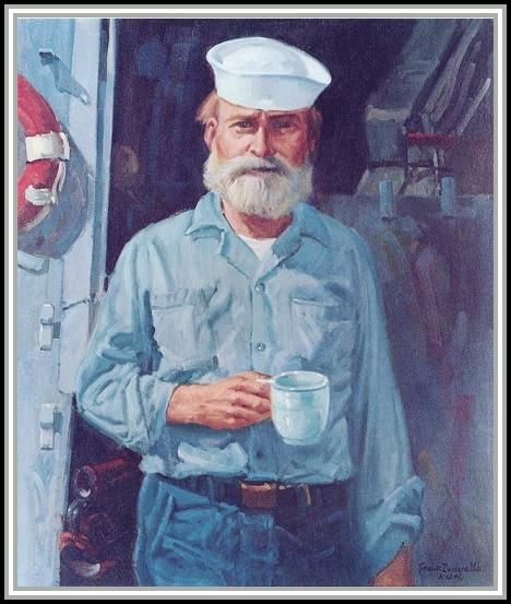 "image of oil painting by Frank E. Zuccarelli, entitled ""Old Salt of the Sixth Fleet"""