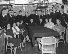 photograph of DER-386 Christmas party - 1955