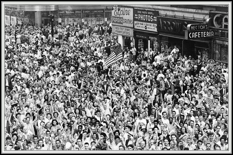 photograph of massive crowd celebrating V J Day in Times Square.