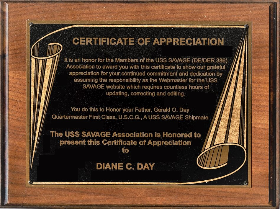image of Certificate of Appreciation plaque