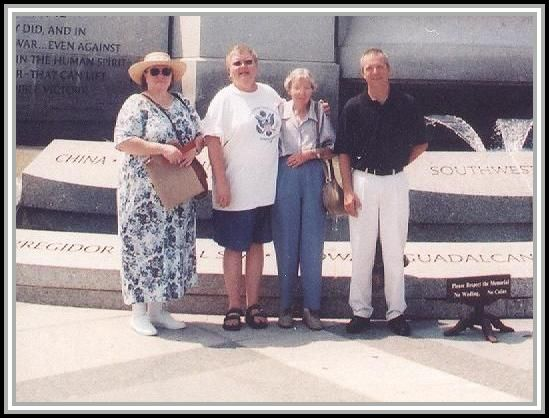 photograph at the WWII Memorial in August 2006 with Donna Day Deters, Diane C. Day, June Coakley, John Boyer (Coakley's grandson).