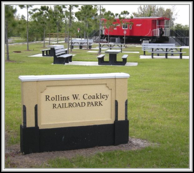 photograph of sign at Rollins W. Coakley Railroad Park