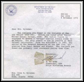 scan of letter of reply from the Department of the Navy