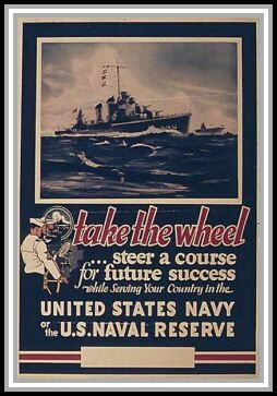 scan of poster take the wheel ... steer a course for future success while serving your country in the United States Navy or the U. S. Naval Reserve