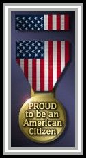"graphic medal ""Proud to be an American Citizen"""