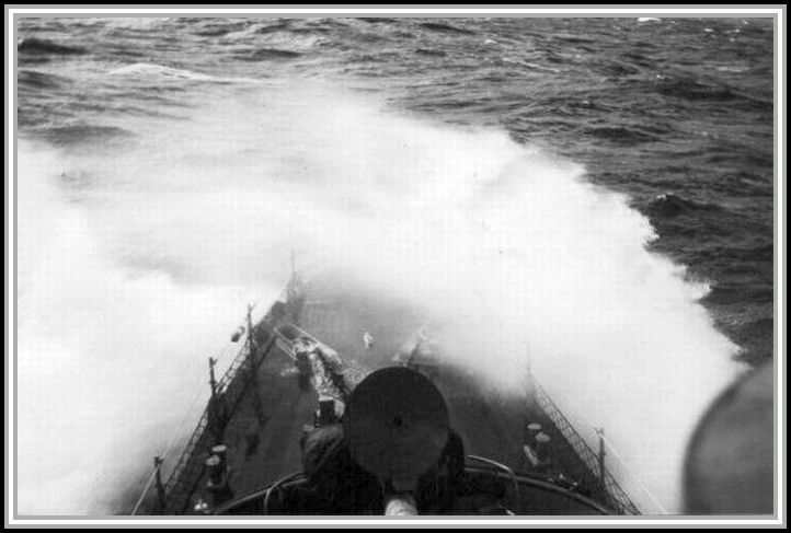 photograph of the DER-386 in rough seas