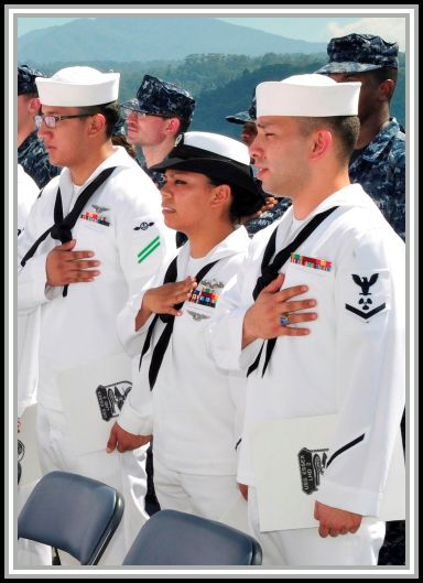 photograph of sailors reciting the Pledge of Allegience at Subic Bay, Philippines