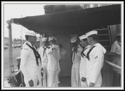 photograph of side boys with Ensign Glenn Skaggs in center