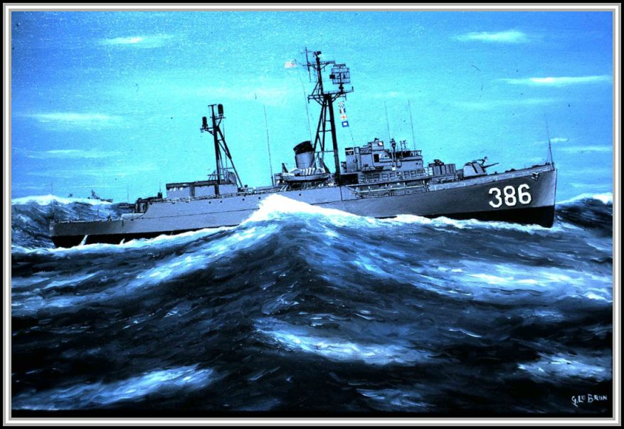 scan of painting of USS Savage